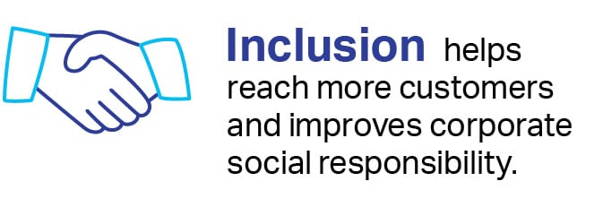 Inclusion helps reach more customers and improves corporate social responsibility