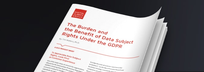 Cover image of the Digital Clarity Group Insight Brief called The Burden and the Benefit of Data Subject Rights Under the GDPR.