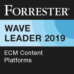 Forrester Wave Leader in ECM platforms, 2019 badge