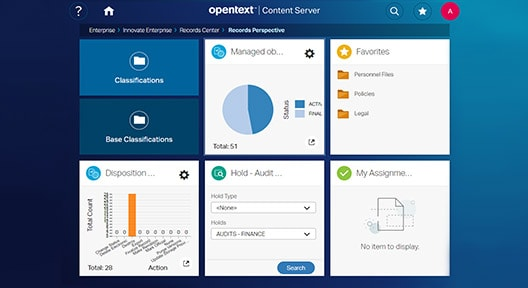 OpenText Records Management interface