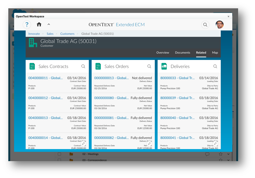 Business Relationships Between Data Objects - Salesforce together with platform such as ERP