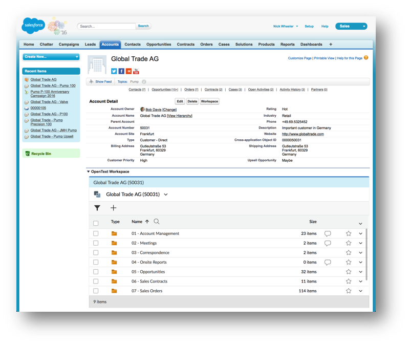 Salesforce Objects Supported with OpenText Business Workspace
