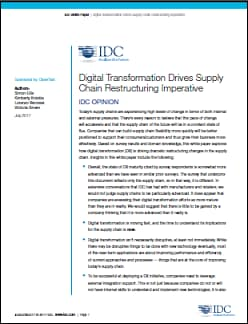 IDC whitepaper on Supply Chains and Digital Transformation