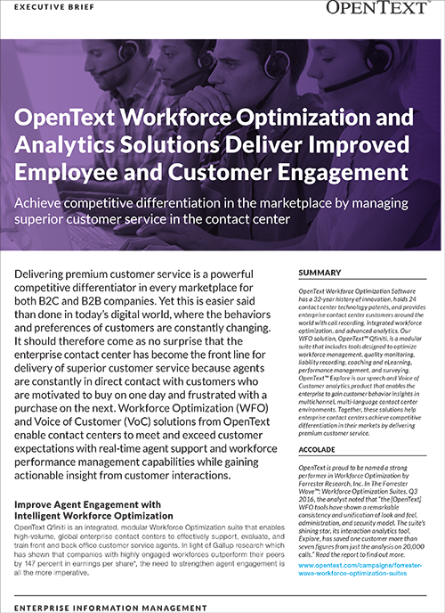 OpenText Workforce Optimization and Analytics Solutions Deliver Improved Employee and Customer Engagement