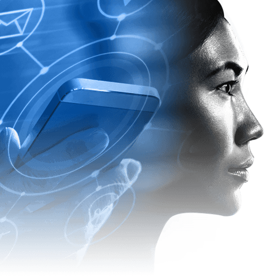 Branding image with woman's face and icons on connected customer experience