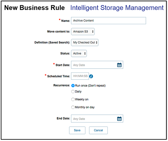 Intelligent storage management business rules graphic